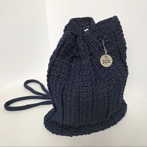 The Sak Crochet Navy Backpack Purse